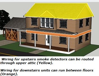 Smoke detector circuit for 2-story home