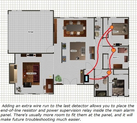 Smoke detector layout with extra wire