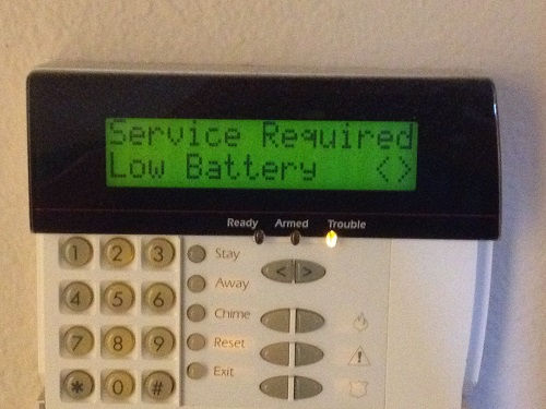 Alarm System Keypad Low Battery Display
