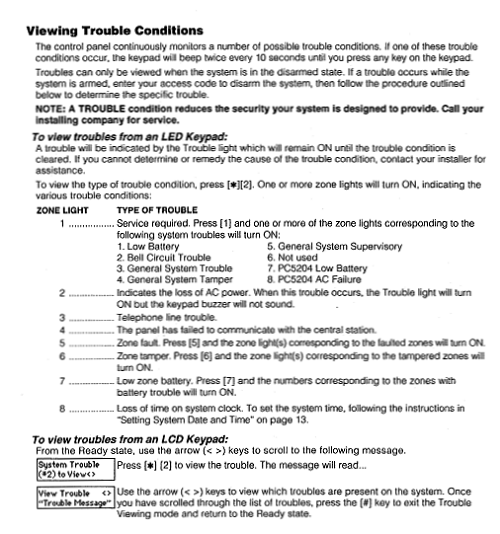DSC Trouble Codes Table (Courtesy panelguides.com)