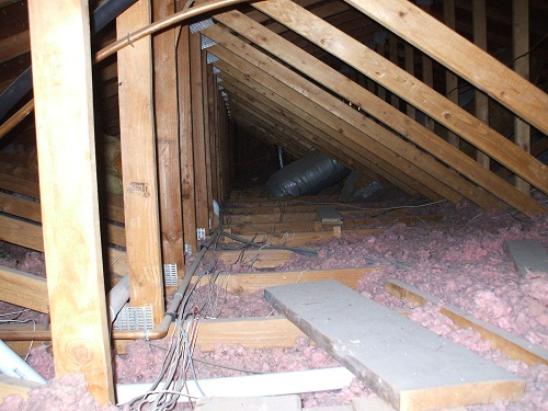 Fishing wires in attic, access and catwalk