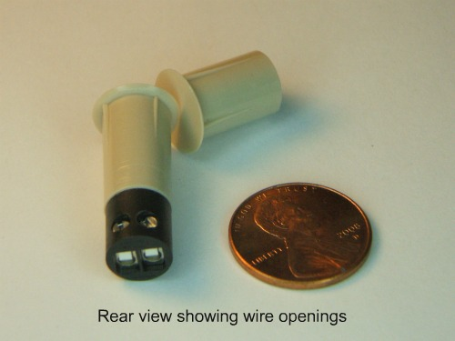 Recessed hardwire contacts with screw terminals, rear view