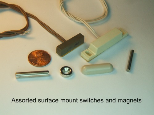 Hardwire contacts for a DIY alarm system, surface mount switches