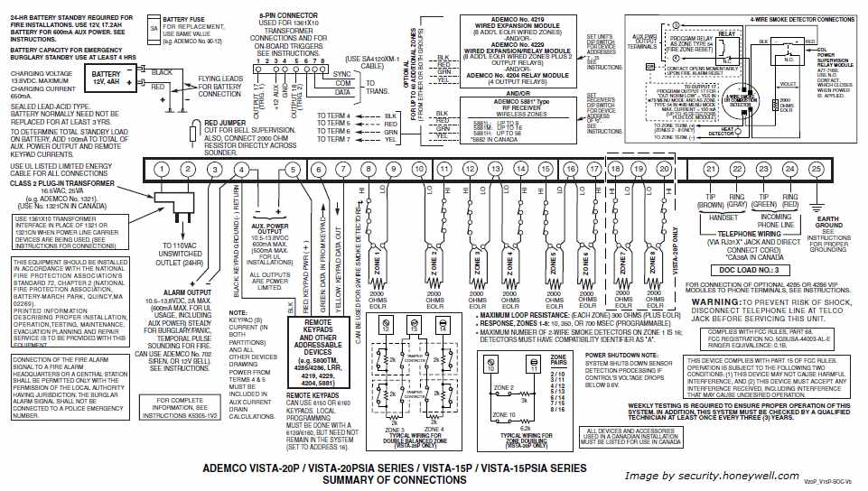 Ademco Manuals Vista 20P Wiring Diagram (Click to Enlarge)