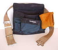 Tool Belt with Fabric and Leather Tool Pouches