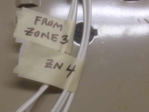 Alarm wires with masking tape labels