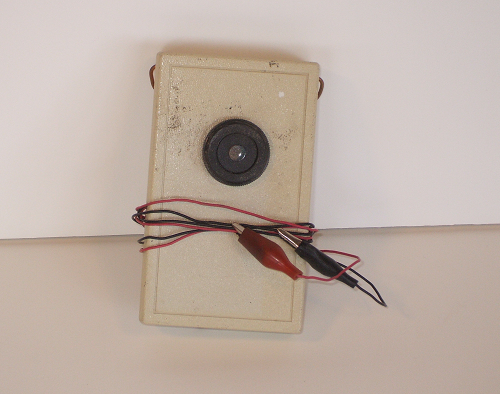 Continuity beeper with test leads coiled up