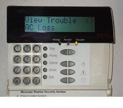 Alarm keypad displaying Trouble condition