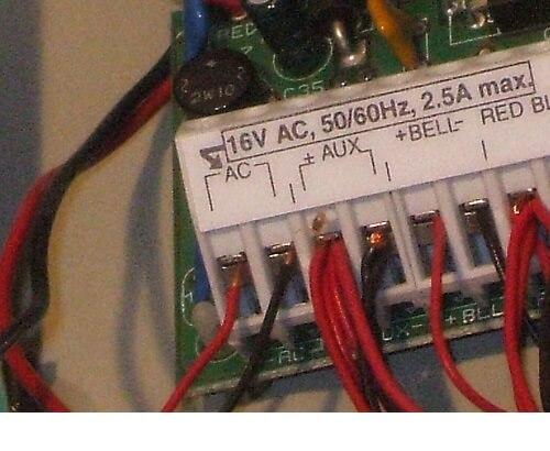 Alarm panel transformer terminals