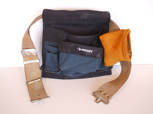 Web Tool Belt with Synthetic and Leather Tool Pouches