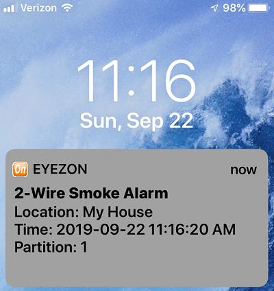 Screenshot of EyezOn text alert