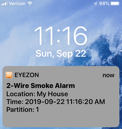 2-Wire Smoke Detector Fire Zone Text Alert