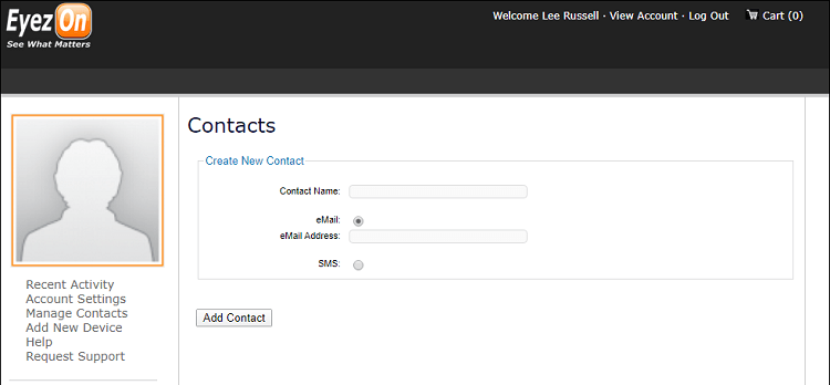 Create New Contact link on Manage Contacts page