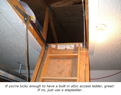 fishing wires for a home security systemattic ladders make access easier
