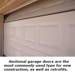 Sectional or roll-up garage door