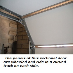 Roll-up garage door interior view