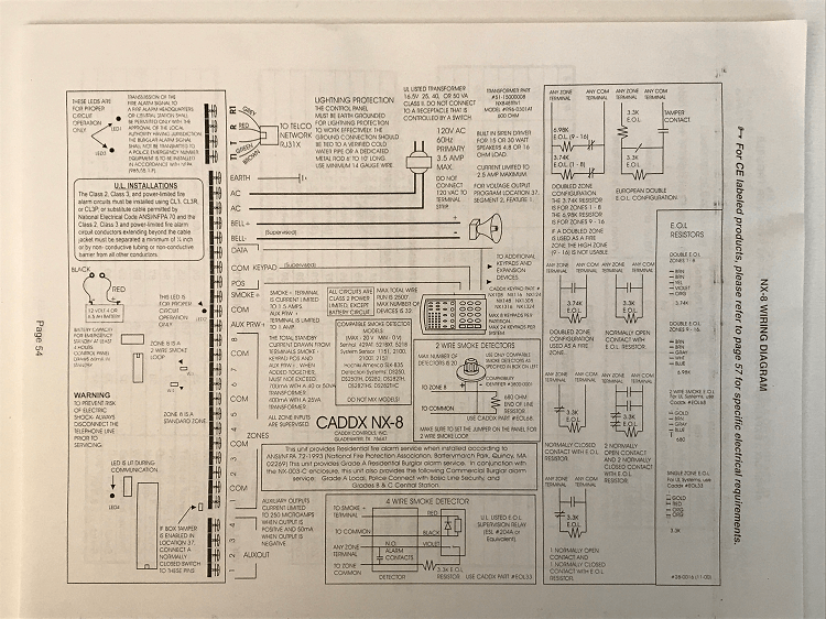 GE Home Security Systems - GE Caddx NX-8 Wiring Diagram