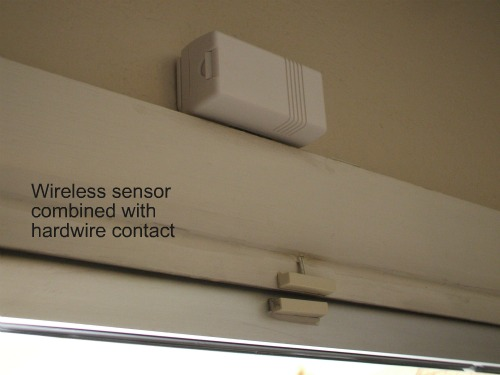 Wireless sensor combined with a hardwire contact