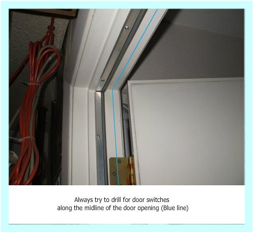 Drill along midline of door opening
