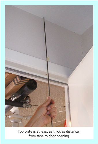Mark on drill shows distance above ceiling line