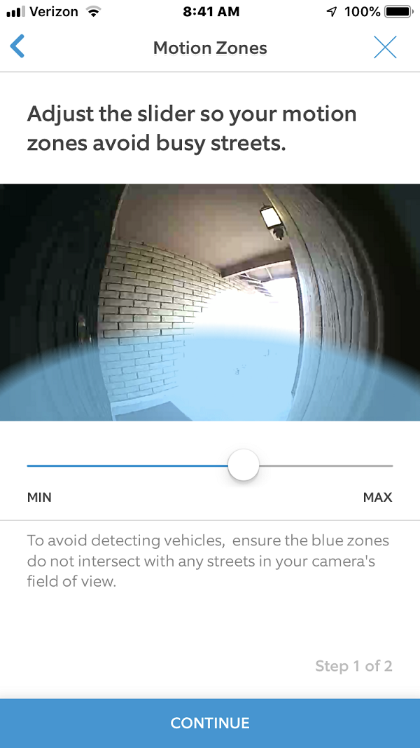 Default Motion Detector Zone Setup Screen