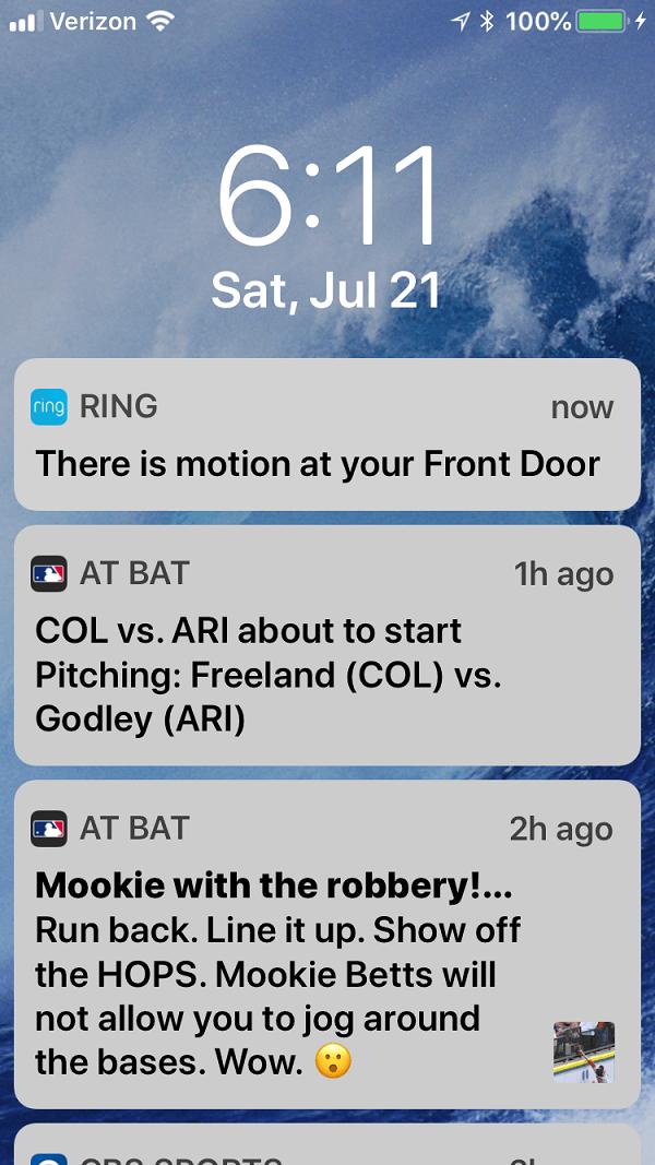 Screenshot of Motion Detected alert