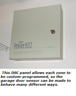 DSC Power 832 panel can be custom-programmed for garage door sensors
