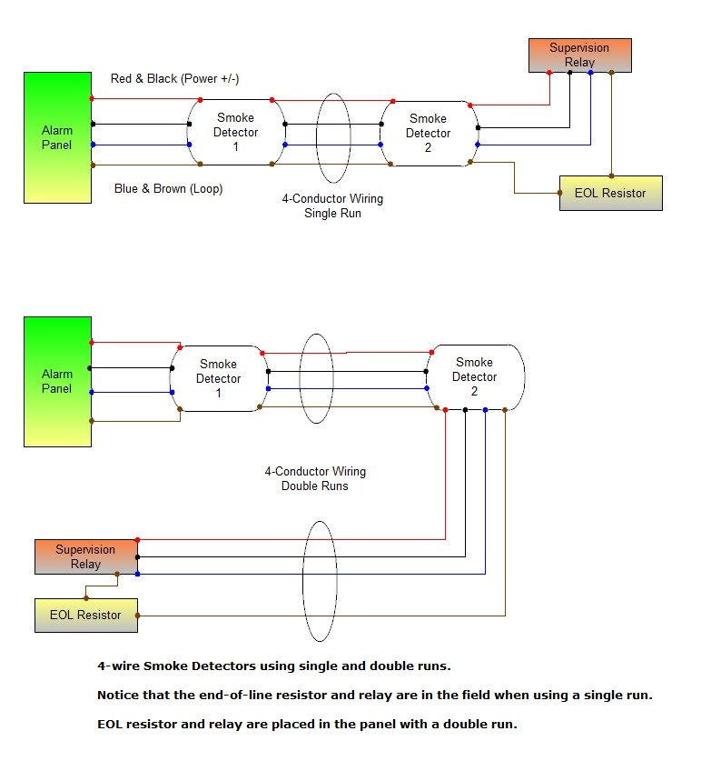 connecting 4 wire smoke detectors fire detector wiring diagram Smoke Detector Wiring Diagram #7