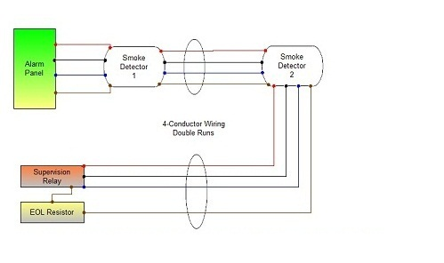 smoke detector wiring connecting multiple runs 4 wire smoke detector diagram