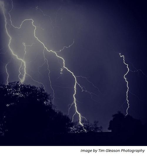 Lightning strike over Chandler, AZ