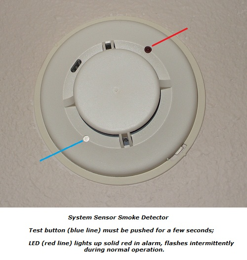 Test button and indicator LED