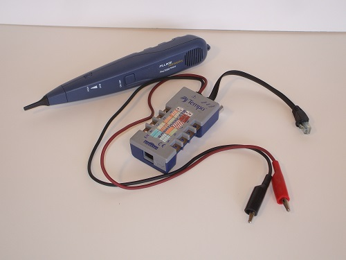 Tone generator with probe. Even though toner is Tempo brand, and probe is by Fluke, they work just fine together.