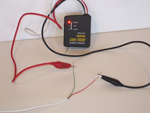 Tone generator connected to target wire