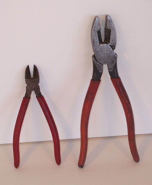 Diagonal cutters on left, linesman's pliers on right