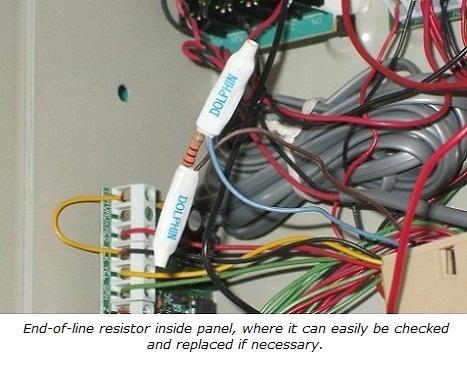 End-of-line resistor in panel