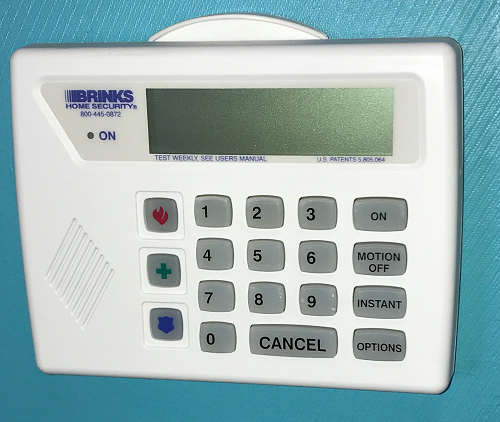 Brinks Home Security Keypad