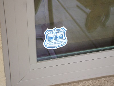 Brinks Alarm Window Sticker