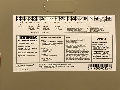 Brinks main alarm panel lid with wiring terminal label