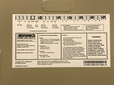 Brinks Security Systems - Brinks BHS-3000A Panel Lid