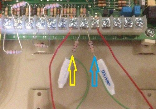Alarm panel wiring close-up
