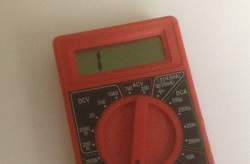 Meter showing an open loop condition. Some DMM's will display OL; this one just displays a 1 on the left