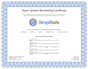 Homeowners Insurance Certificate from SimpliSafe