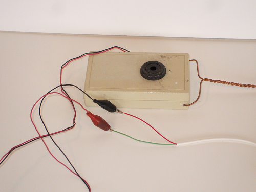 Audible continuity tester connected to first wire
