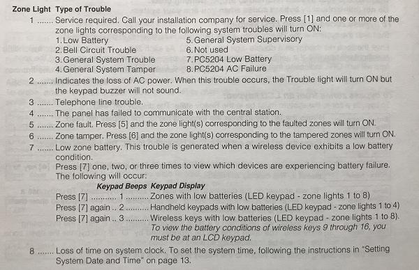 DSC Trouble Codes Table