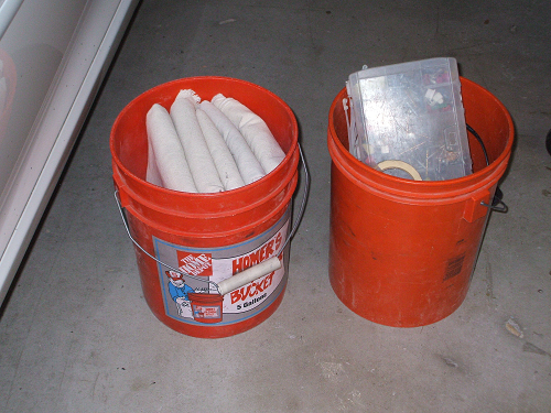 5-Gallon Tool Buckets for Extra Tools and Drop Cloths