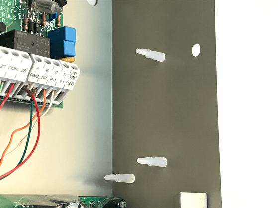 Plastic standoffs installed