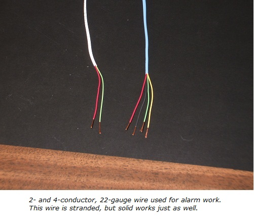 Home alarm wiring, 2-conductor and 4-conductor