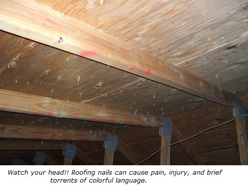 Attic scuttle, roofing nails