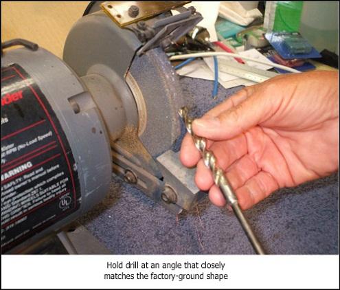 Sharpen flex drill bit for alarm wiring, bench grinder