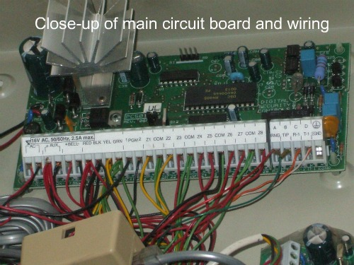 Hardwired home security system wiring close-up